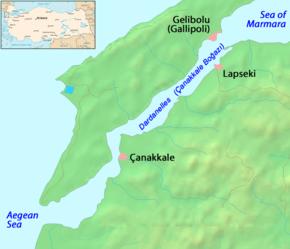 mapa estreito de dardaneles
