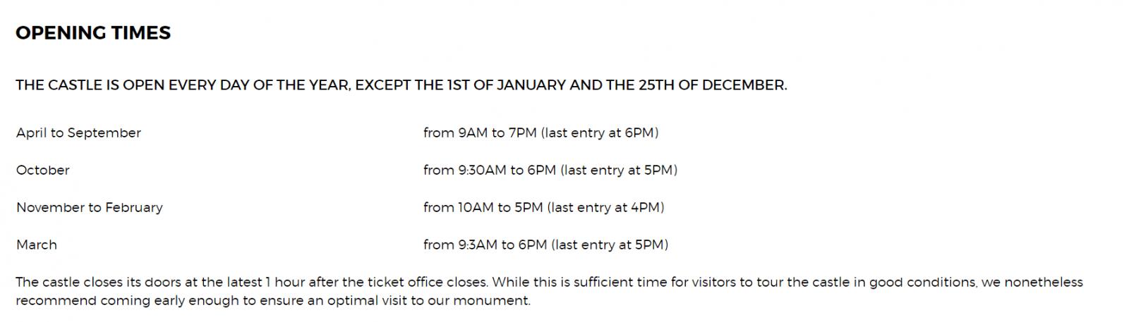 horarios de funcionamento chateau de chillon
