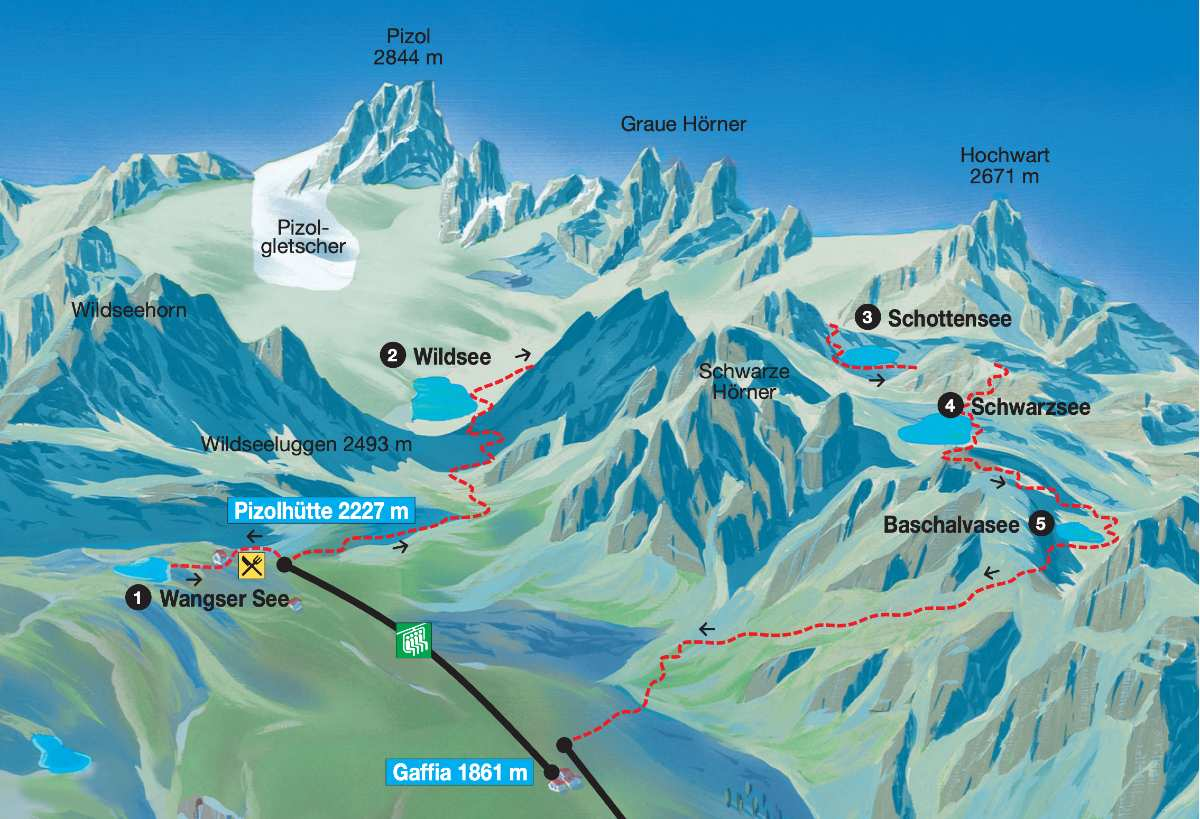 mapa trilha dos 5 lagos em pizol