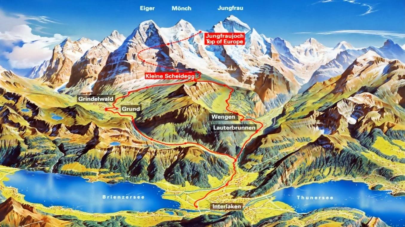 mapa trem jungfraujoch