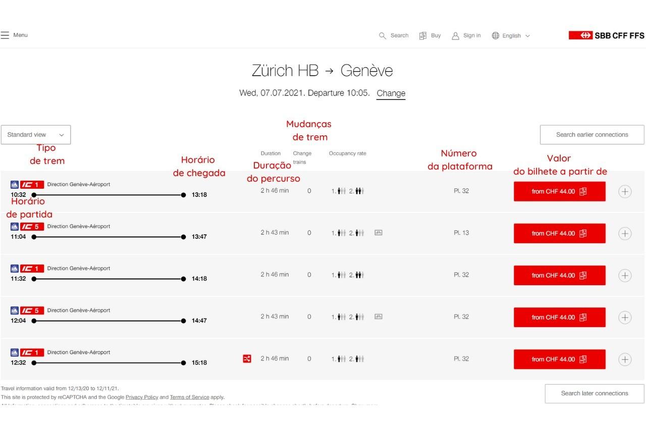 como comprar  online bilhetes de trem na suiça