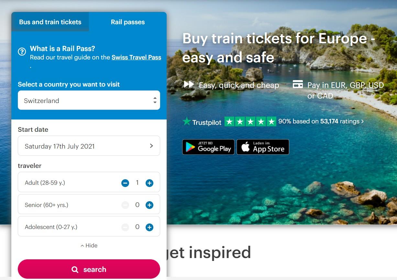 como comprar swiss travel pass online