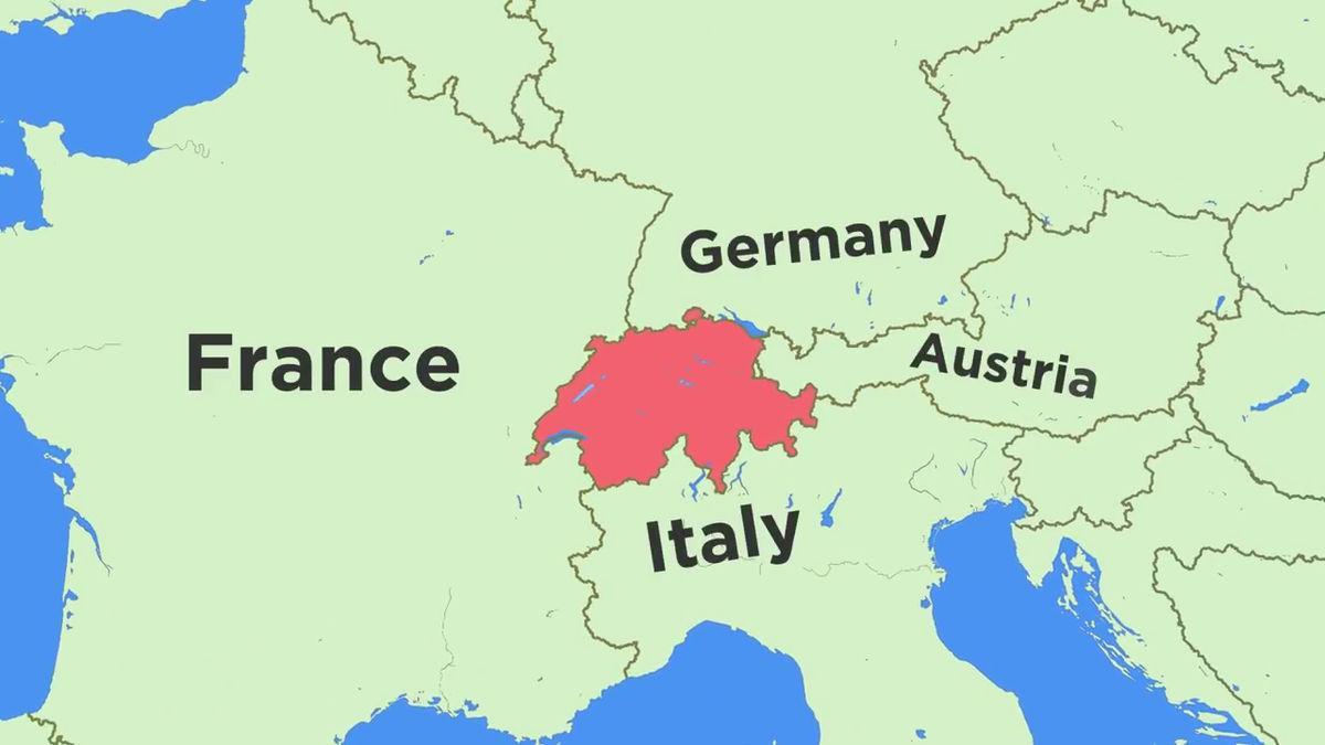 mapa da suiça fronteiras