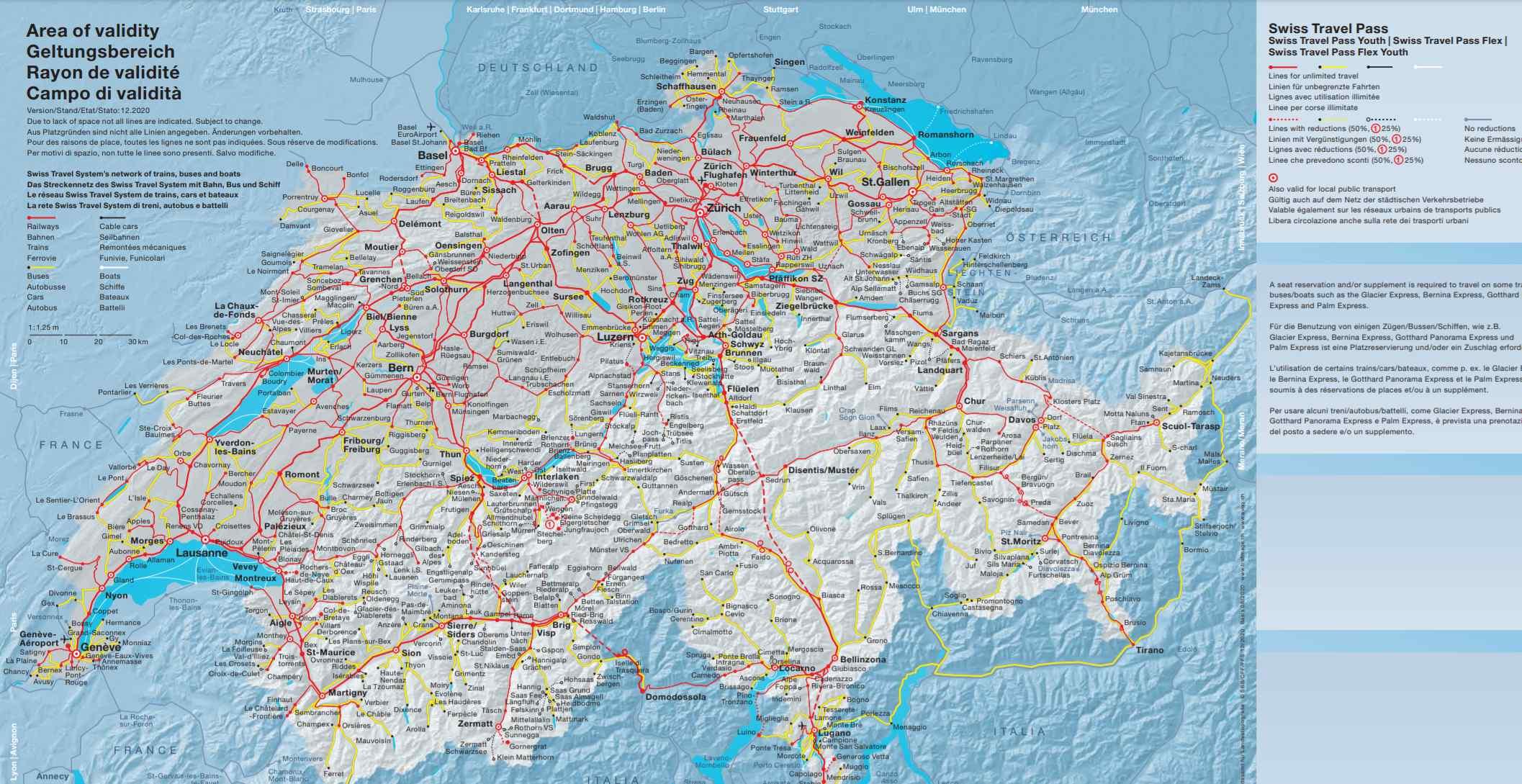 mapa area de validade swiss travel pass