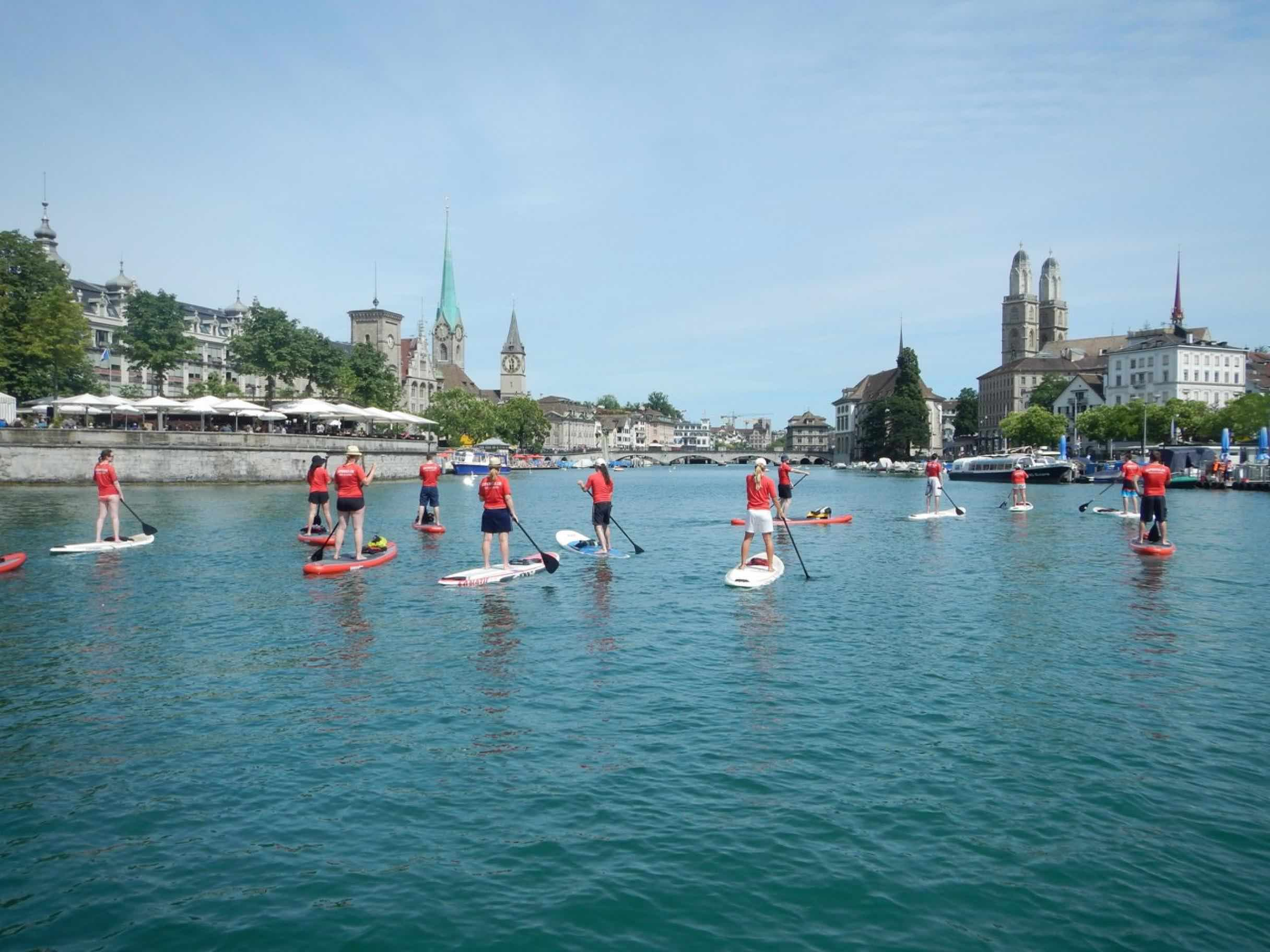 stand up paddle em zurique no verão