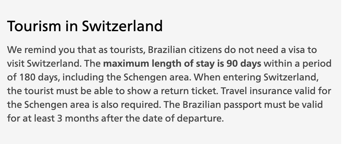 turistas brasileiros nao precisam de visto na suiça